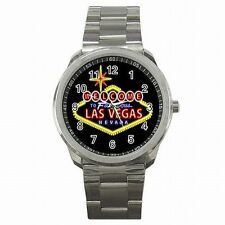 Las Vegas Strip Famous Gambling Sign Gambler Stainless Steel Sport Watch New!