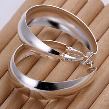 Wholesale Solid Silver Jewelry Lovely Smooth Egg Shape Woman Hoop Earrings E018