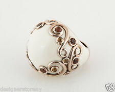 "GARAVELLI ""Lifestyle"" Sterling Silver Ring Gold Citrin White Enamel Italy"