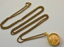 RUSSIAN VINTAGE CHAIKA GOLD PLATED LADIES PENDANT NECKLACE WATCH 17J