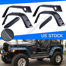 "For 97-06 Jeep Wrangler TJ 6"" Pocket Rivet Style Fender Flares Protector Black"