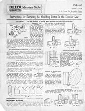 Delta Rockwell PM-1652 Molding Head & Cutter For The Circular Saw Instructions