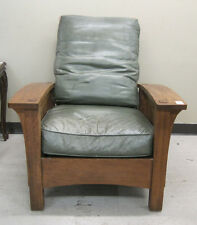 STICKLEY BOW-ARM MORRIS ARMCHAIR AND STOOL, Missio Lot 330