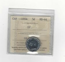 **1954 SF**, ICCS Graded Canadian,  5 Cent, **MS-64**