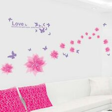 Pink Flying Flower Purple Butterfly Wall Decal Sticker Wall Art Home Decor
