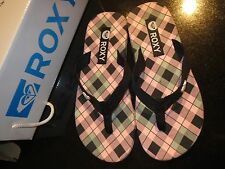 Brand New Roxy Pink Black Plaid Slippers Flip Flop Thong