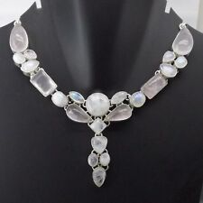 Vintage Look Rainbow Moonstone Necklace plated with 925 Sterling Silver Handmad
