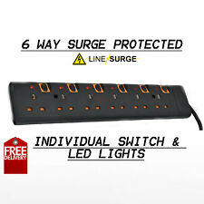 6 WAY 2M SURGE PROTECTED WITH SWITCH EXTENSION LEAD 2M CABLE PLUGS IN BLACK