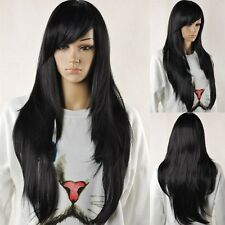 Diy-wig Women Black Natural Straight Synthetic Bangs Cosplay Hair Full Long Wig