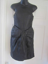BNWT MISS SELFRIDGE REAL LEATHER BOW FRONT BANDEAU DRESS SIZE 10 RRP 70.00