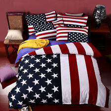 Bedding Set American Flag USA UK 100% Cotton Queen King Size Sheets Duvet