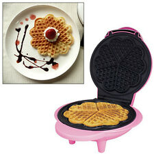 PINK ELECTRIC NON-STICK WAFFLE MAKER MAKING MACHINE MAKES 5 HEART SHAPED WAFFLES