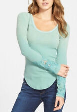 Free People 'Masquerade' Long Sleeve Beaded Cuff Thermal Knit Top Green XS $68
