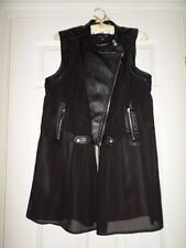 Womens New Look Blouse Top Jacket Black Large Faux Leather Zip Up Sheer Mod Goth