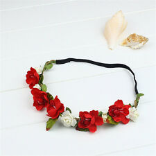 Boho Floral Flower Festival Wedding Elastic Hairband Garland Head Band