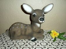 STUNNING & LARGER VINTAGE HAND~PAINTED DEER FAWN STATUE WITH GLASS EYES