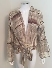 Rozae Nichols Top Newspaper Print Rare Silk Wrap Blouse Brown  Size Medium