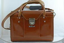 VINTAGE NIKON FB-15 BROWN LEATHER CAMERA BAG WITH SHOULDER STRAP