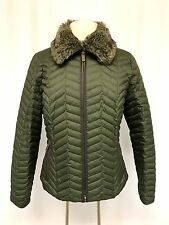 womens hunter green EDDIE BAUER quilted goose down jacket faux fur zip front M