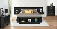 King Size Headboard Black Floating Wall Mounted Nightstands Bedroom Furniture