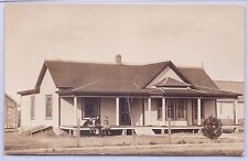 VINTAGE REAL PHOTO ONE STORY HOUSE WITH THREE CHILDREN ON PORCH POSTCARD