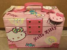 Hello Kitty Makeup Jewelry Train Case Box Mirror Storage RARE collectable Candy