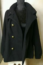 H&M Divided Womens Ladies Black Hooded Smart Winter Coat Jacket  Size UK 16 42