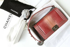 Chanel Boy Phyton Medium 25 Cm Python Metallic Dusty Pink