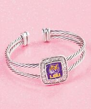 LSU Cuff Bracelet w/ Crystals Gift College Football Fans LOUISIANA STATE TIGERS