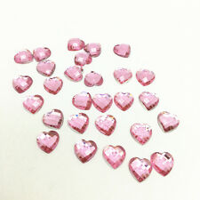 New 50pcs Resin Earth Heart Crystal 10mm Flatback For DIY Making Crafts Pink &