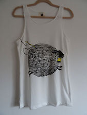 Ball of Wool Sheep Vest Top / Dress - Size 10-12 - White Cute Knitting Kawaii