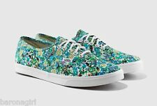 Vans Authentic Lo Pro Ditsy Floral Pool Green VN-0W7NFE6 Women's Size: 7.5