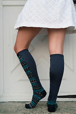Xpandasox Plus Size/Lymphedema Socks 24 inches at Calf, Navy Stripe Size 10-12