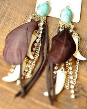 New Hot Charm Fashion European Turquoise Feather Tassel Beauty Dangling Earrings