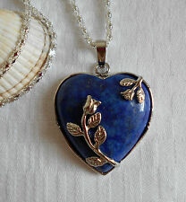 Unique lovely lapis lazuli heart gemstone pendant silver plated necklace flowers