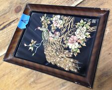 #A Framed Peacock Black Gold Mother of Pearl Shell Japan Vintage Bird Inlaid XX