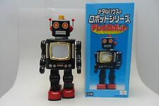 Rare Black TV Robot Battery Operated RM Metal House Toys Made in Japan Box