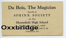 DuBois The Magician Show Handbill Card BLOOMFIELD NJ Magic Illusionist Ephemera