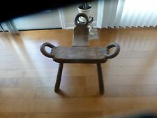 Vintage Hand Carved Wooden Three Legged Milking Stool Recessed Seat Rare