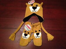 NEW Cozy Critters Mad Bomber Teddy Bear Mittens & Hat Cute Fleece Lined