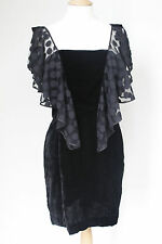 New Alice Temperley Opal Frill polka dot black velvet dress UK 12