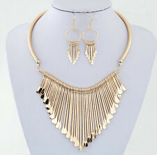 Women Wedding Necklace Earring Gold/Silver Plated Tassel Party Jewelry Sets