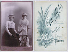 CABINET CARD Photograph Victorian ladies Wearing Straw Hats by Wood of Tiverton