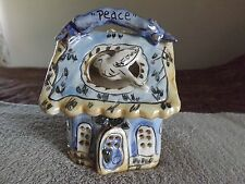BLUE SKY CLAYWORKS HEATHER GOLDMINC MAY PEACE LIVE IN YOUR HOME TEA LIGHT HOUSE