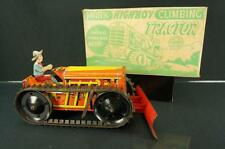 VINTAGE MARX TIN WIND UP TRACTOR BULLDOZER W/ DRIVER & REMOVABLE PLOW & BOX