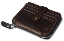 Genuine Leather Mens Zip Around Credit Card Holder Case Small Wallet Pocket