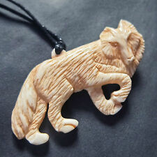 Hand Carved Wolf Necklace Bone Jewellery Carving Taxidermy *BUY 1 GET 1 FREE!