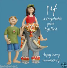 HOLY MACKEREL HAPPY 14TH / IVORY ANNIVERSARY GREETING CARD **FREE 1ST CLASS P&P