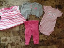 baby girls 4 PIECE LOT carters NEON PINK leggings tunic HEARTS shrug 3 MONTHS