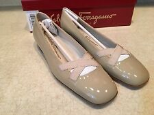 NEW SALVATORE FERRAGAMO Boutique LaBelle Bone Pumps Size 5 B, Low Heels Shoes